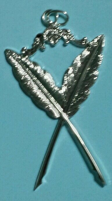 Masonic Secretary Collar Jewel in Silver Tone