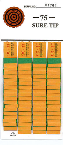 One Dozen #75 Sure Tip Boards (1-75) Raffle Bingo/Jar Tickets Free Shipping USA