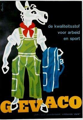 Original vintage poster GEVACO WORK CLOTH JEANS HORSE c.1950