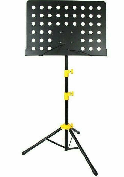 5Core Folding Tripod Music Stand Portable Lightweight + Sheet Clip Holder Yellow