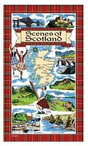 Scenes of Scotland Tea Towel Souvenir Gift Scottish Landmarks Tartan Collage Map