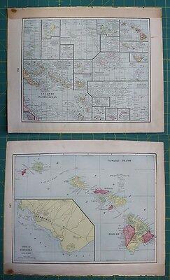 Pacific Ocean & Hawaiin Islands Vintage Original 1899 Cram's World Atlas Map Lot