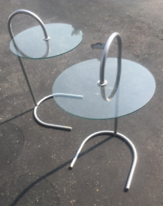 Versatile Glass and Metal Ikea Round Side Table - 2 available