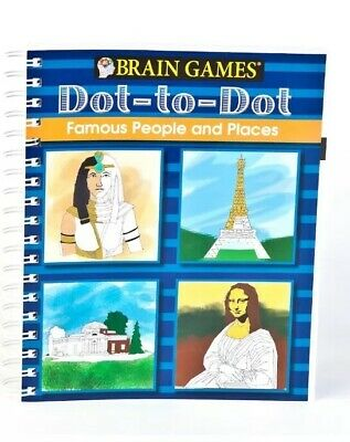 Brain Games Dot to Dot Famous People and Places Spiral Bound Great Gift - Dot To Dot Game