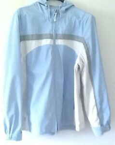 Blue/white size ladies LARGE HOODED JACKET or BROWN COAT