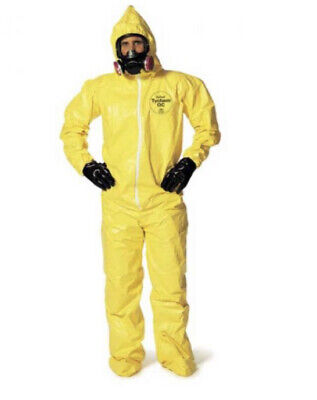Dupont Tychem -qc 122 Yellow Coverall. Standard Hoodbooties. Elastic Wrists Med