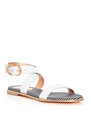 Ted Baker Women's Qereda Leather Ankle Wrap Sandals Size 8 White Ted Leather Sandals