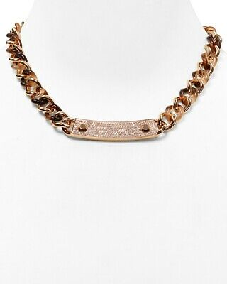 MICHAEL KORS BLUSH TORTOISE / PAVE CRYSTAL CHAINLINK REVERSIBLE NECKLACE $195