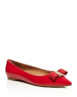 SALVATORE FERRAGAMO Emy Point Toe Shoes,ITALY,LOGO,Patent Leather,Ballet Flat 7W