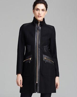Via Spiga Leather Coat - NEW VIA SPIGA NAVY WOOL BLEND FAUX LEATHER TRIM ZIP FRONT WALKER COAT SZ 6