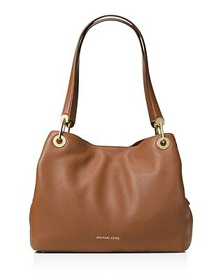 Michael Michael Kors Raven Large Pebbled Leather Shoulder Tote Color Luggage NWT