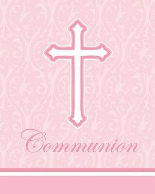 - Communion Pink Cross Damask Religious Invitations and Envelopes 24ct   BE