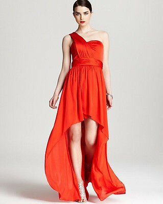 AQUA ~ Red Charmeuse Satin One Shoulder Ruched Hi-Low Party Gown 0 NEW $268