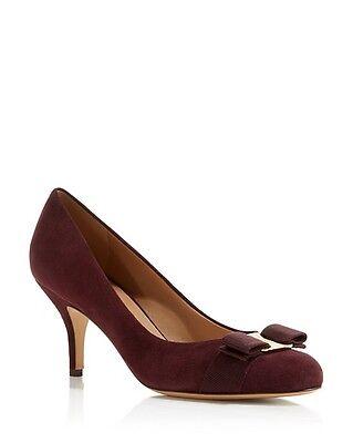 New Salvatore Ferragamo Carla Suede Leather Bow Pumps Rouge Noir Brown 6B $675