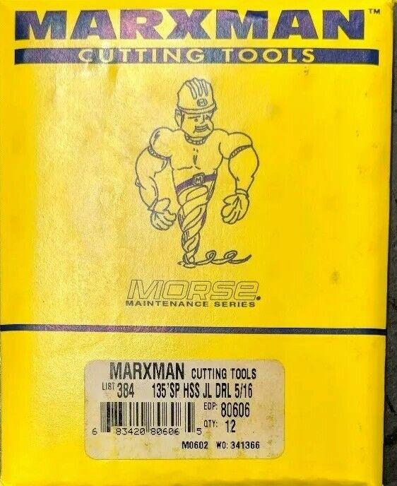 "Marxman Morse 80606 5/16"" Jobber Drill Bit PACK OF 12 MADE IN USA Black & Gold"