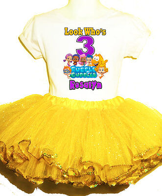 Bubble Guppies Party Dress Name & number  2 pc tutu 1T,2T,3T,4T,5T,6T,7T.8 (Bubble Guppies Dress)
