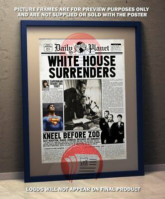 Superman II Daily Planet Christopher Reeve Zod Fake Newspaper  - A3 Size Poster