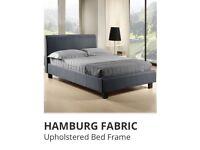 Stylish Grey Hamburg Style Fabric Upholstered Double Bed Frame and Luxury Halo Memory 500 Mattress
