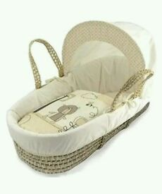 Kinder valley Tiny Teddy in the park moses basket. Cream. Brand new with Folding stand. 3 left only.