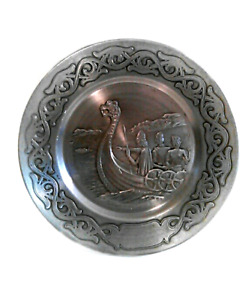 Vintage pewter engraved decorative plate
