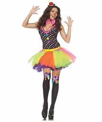 CLOWNING AROUND WOMAN COSTUME MARDI GRAS CIRCUS CLOWN POLKA DOT LADY COSTUME