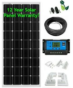 150W Solar Panel Kit Mono LCD 12V White Mounts Caravans Boats Motor Homes Sheds