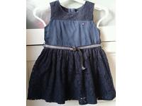 Designer Tommy Hilfiger navy blue baby girl net dress (matching panty inc) size 6-12months