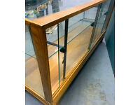 Vintage wooden glass museum habidashers, taxidermy display case cabinet case