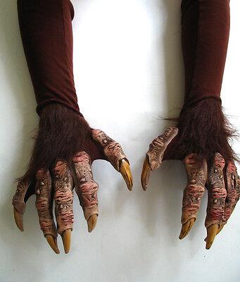 Halloween Werewolf Gloves (Werewolf Beast Monster Demon Claws Hands Scary Adult Halloween Costume)