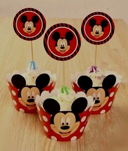 24pcs Mickey Mouse 12-Cupcake Wrappers And 12-Toppers Birthday Party Decorations