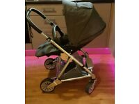 Urbo 2 chestnut tweed pushchair with car seat and isofix base.
