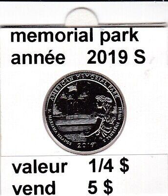 e1 )pieces de 1/4 dollar de memorial park 2019 S