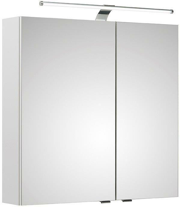 Spiegelschrank Badezimmerspiegel Weiß Hochglanz mit LED Beleuchtung  VORMONTIERT