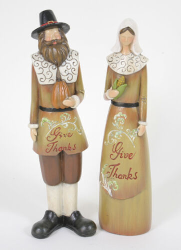 "Thanksgiving Pilgrim Couple GIVE THANKS 10"" Resin Figurines"