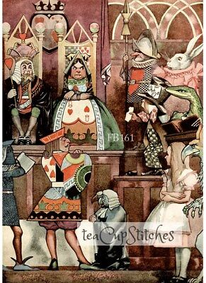 Alice on Trial~Queen Hearts~FABRIC BLOCK~White Rabbit~Vintage Illustration~161s