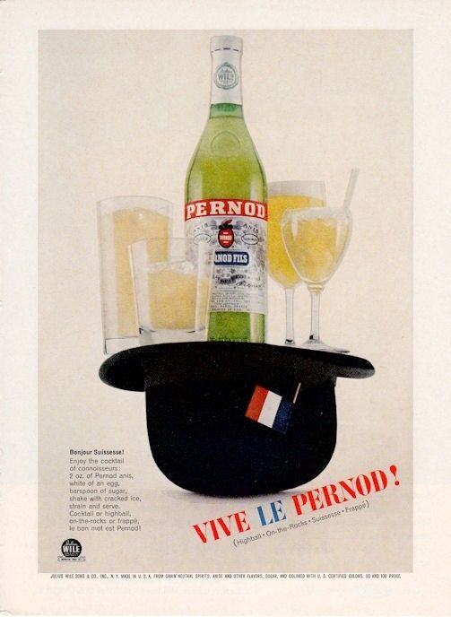 1961 Pernod PRINT AD Vintage Bottle, glasses, Bowler Hat  Great decor ad