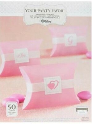 50 Wilton Pink Pillowbox Printable Party Favor Kit Wedding Bridal or Baby - Pink Favor Kit