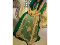 Churidar dress with heavy scarf.