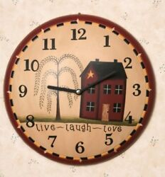 PRIMITIVE COUNTRY WALL CLOCK LIVE, LAUGH, LOVE With HOUSE AND WILLOW TREE