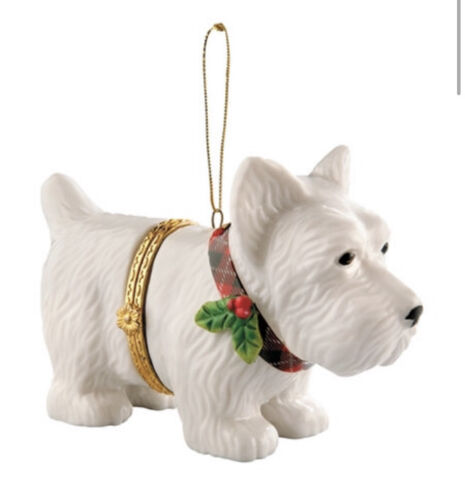 Westie Porcelain Christmas Ornament with Opening- NIB
