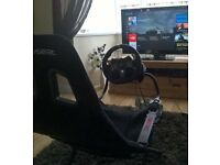 logitech g920 wheel+pedals+shifter and playseat challenge.