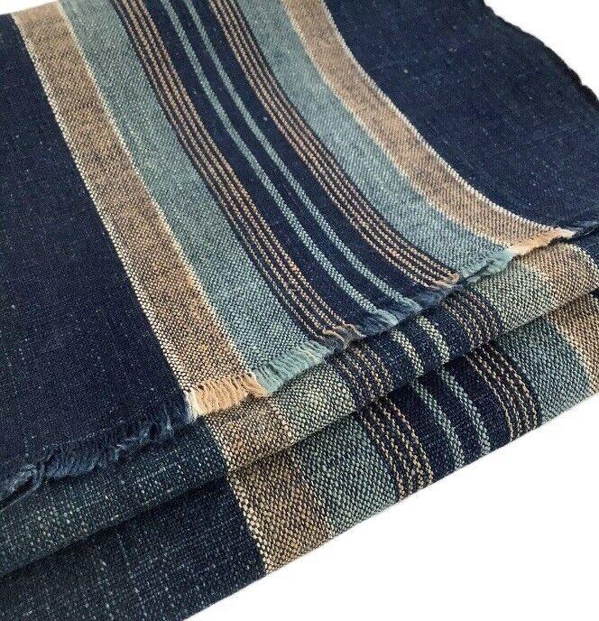 "Japanese Vintage Old Kimono Cloth Indigo Blue Faded Stripes 52"" x 13.8"""
