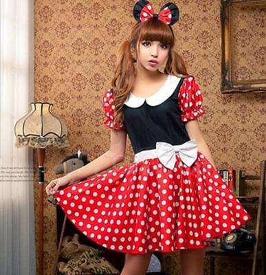 Super Cute Red Minnie Mouse Halloween Costume Adult Costume c/w hair - Cute Adult Halloween Costume
