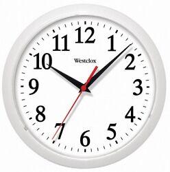 Westclox 461761 Plastic Round Wall Clock, 10, White