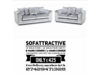 Sofa 3 seater + 2 seater silver crush velvet