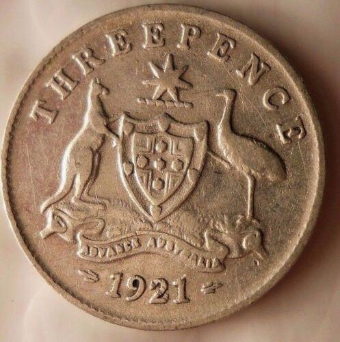 1921 (m) AUSTRALIA 3 PENCE - Extremely Rare Silver Coin - Australia Bin #1