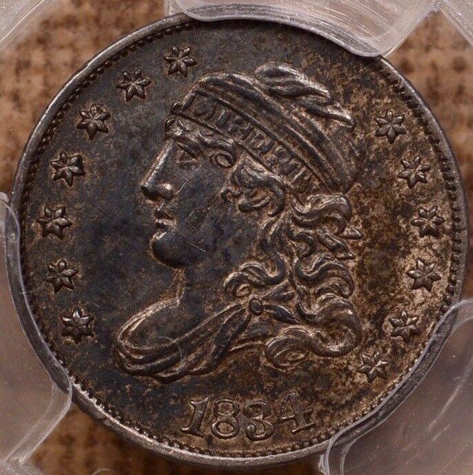 1834 LM-4 Capped Bust half dime, PCGS AU53, original PQ coin! DavidKahnRareCoins
