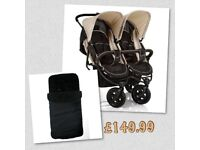 Exdisplay immaculate HAUCK ROADSTER DUO SIDE BY SIDE DOUBLE PRAM PUSHCHAIR BLACK ALMOND £130