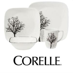 CORELLE SQUARE TIMBER SHADOWS 16-PC DINNERWARE SET