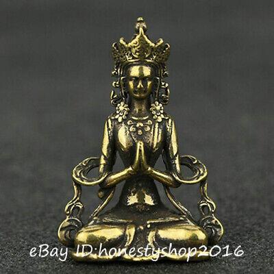 Old China Bronze Copper Hand Carving White Tara Goddess Kwan Yin Buddha Statue